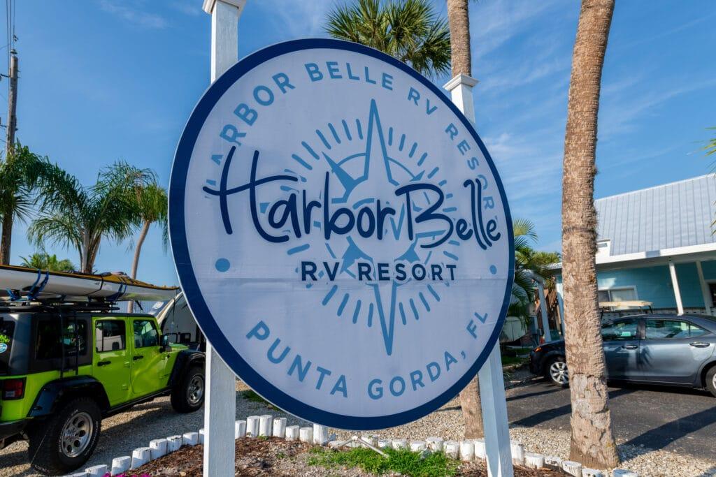 Harbor Belle RV sign
